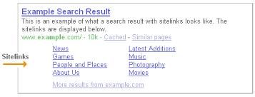 Google Sitelink Example Search Result