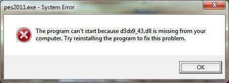 Errore PES 11 d3dx9 43 Come Risolvere lerrore: file d3dx9 43.dll non presente