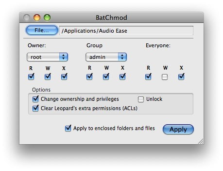 batchmod Modificare i Permessi dei File su Mac velocemente con BatChmod