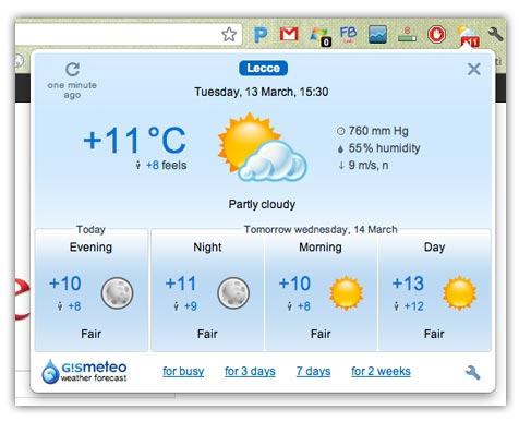 gismeteo Vedere le previsioni del meteo direttamente su Google Chrome con Gismeteo
