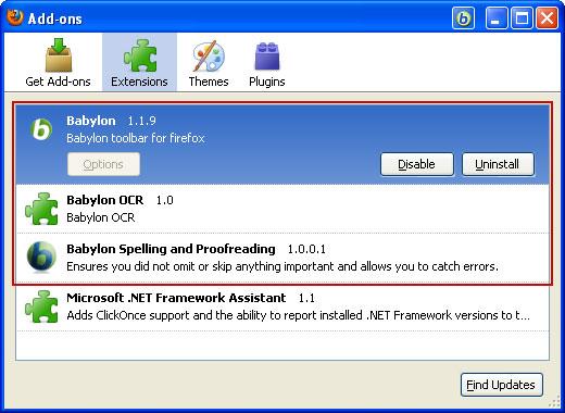 babylon addon firefox Come rimuovere Babylon toolbar e web search da Mozilla Firefox