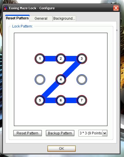 maze Bloccare Windows con La Sequenza di Blocco Pattern con Eusing maze Lock