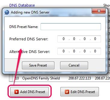 add a new DNS server Modificare i DNS in un click con ChrisPC DNS Switch