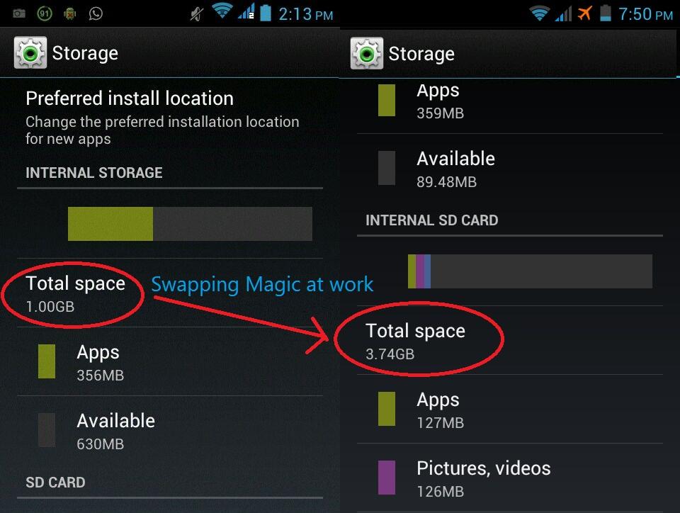 swap internal to external Come Aumentare la Memoria Interna di Android con App Root External 2 Internal SD