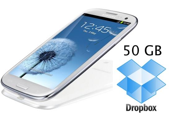 samsung galaxy s3 dropbox 50GB Come Ottenere 50 GB di spazio gratis Dropbox sul Galaxy Samsung