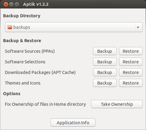 aptik main screen Recuperare Temi, icone, Applicazioni su Ubuntu con Aptik