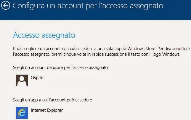 Configura un account per laccesso assegnato Windows 8 Scegliere con quale Account avviare Windows 8