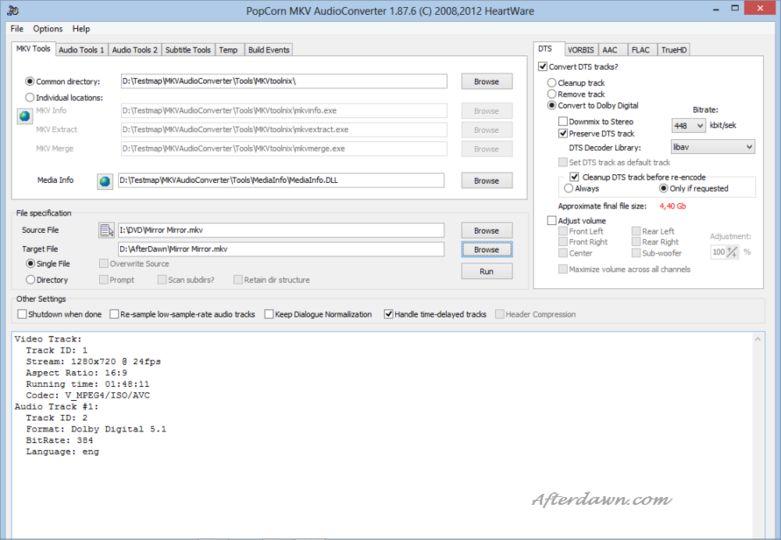 PopCorn MKV AudioConverter Convertire la traccia Audio dei file MKV da DTS a AC3 con PopCorn MKV AudioConverter