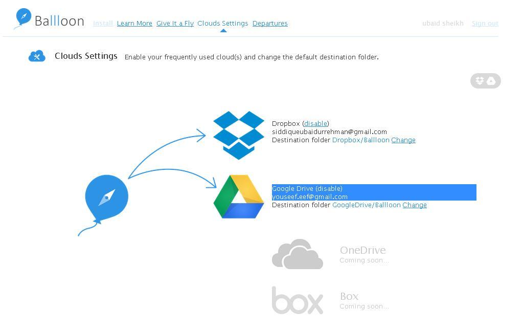 ballloon settings Salvare foto, link e documenti online su Drive e Dropbox con Ballloon