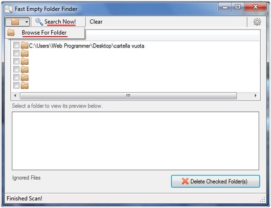 cancellare cartelle vuote1 Come cancellare le cartelle vuote del pc con Fast Empty Folder Finder