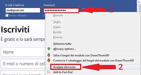 facebook003 Come Rendere visibili le password inserite nel box password dei vari form