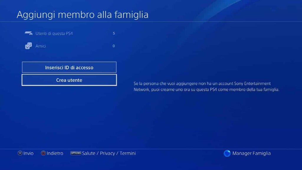 Come impostare un account bambino su PlayStation 4
